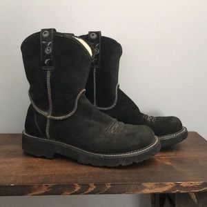 Ariat fat baby black suede boots 9B